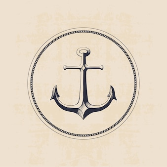Anchor logo in circle, hand drawn illustration