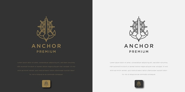 Anchor logo design simple and minimalist style icon for maritime business or ocean brand