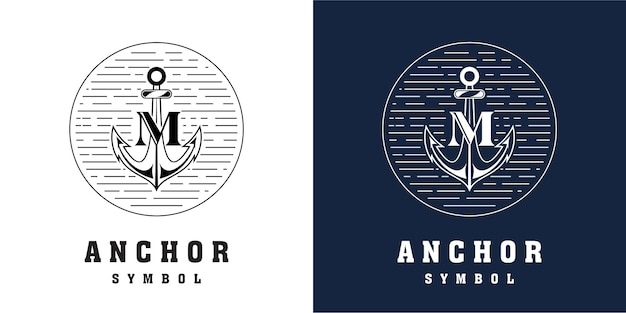 Якорь дизайн логотипа с комбинированной буквой м
