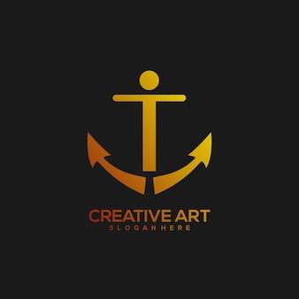 Якорь логотип градиент винтажный дизайн