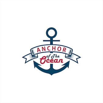 Anchor logo simple blue ribbon badge