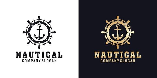 Якорь морской ретро хипстерский логотип с колесом корабля