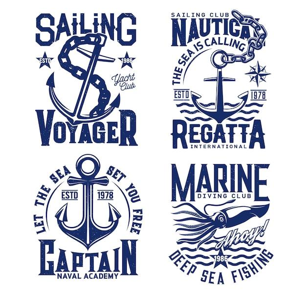 Anchor, nautical sailing t shirt prints with sea waves, yacht club and ocean fishing