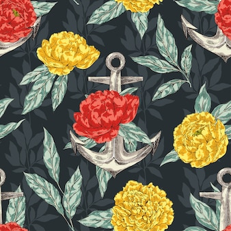 Anchor and peonies seamless pattern