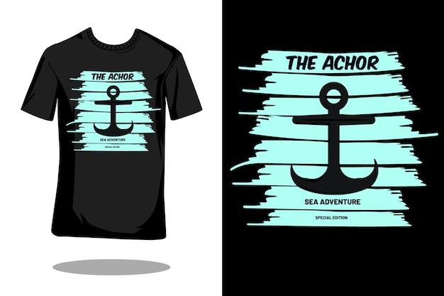 앵커 실루엣 빈티지 티셔츠 디자인