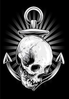Anchor skull vector