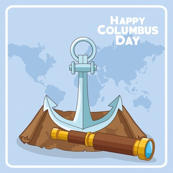 Anchor and spyglass of happy columbus day design
