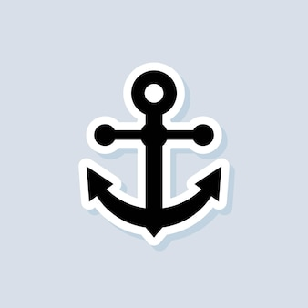 Anchor sticker. sea or ocean concept. vector on isolated background. eps 10.