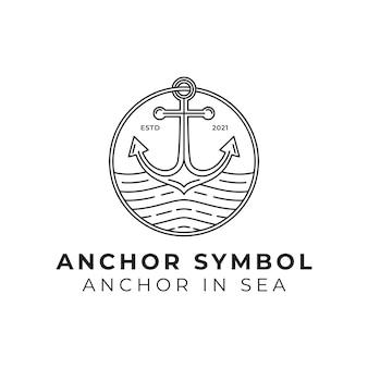 바다 또는 바다 라인 아트 로고 그림에서 앵커 기호