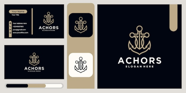 Anchor technology logo icon design template, business symbol or sign. anchor technology vector with business card display logotype anchor navy ship marine template design