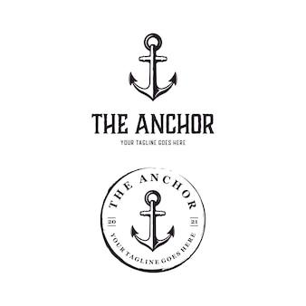 Anchor vintage retro rustic stamp logo design template