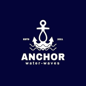 Anchor water drop and waves logo template