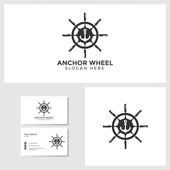 Anchor wheel logo template with business card design mockup