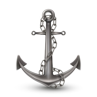 Anchor with chain realistic style