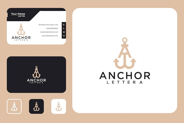Anchor with letter a logo design and business card