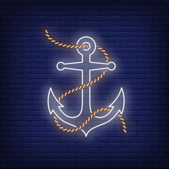 Anchor with rope or chain neon sign. glowing banner or billboard elements.