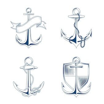 Anchor with rope and chain set illustration. emblems anchors with shield and ribbon