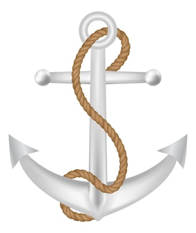 Anchor with rope logo vecto