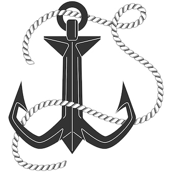 Anchor with rope vector black silhouette icon isolated on a white background.