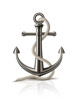 Anchor with rope on white background. vector illustration