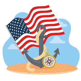 Якорь с флагом сша и компасом в стиле счастливого дня колумба в америке и теме открытий