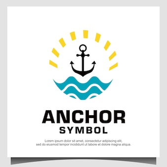 Anchor with wave and sun logo