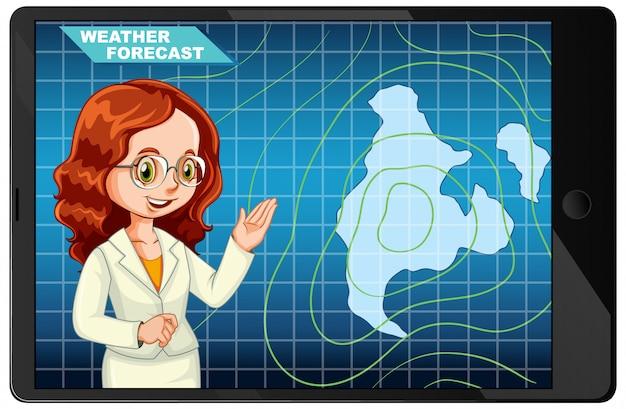 アンカーマンがタブレット画面に天気予報を報告