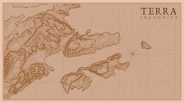 古代の抽象的な地球の救済の古い地図。ファンタジー風景の概念的な標高マップを生成しました。