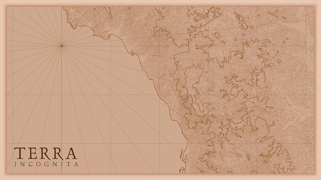 古代の抽象的な地球の救済の古い地図。