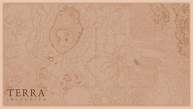 Древняя абстрактная карта рельефа земли старая.