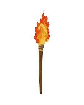 Древний каменный инструмент для охоты или работы. мультяшный факел, инструмент доисторического пещерного человека. векторная иллюстрация инструмента первобытной культуры в плоском стиле, изолированные на белом фоне