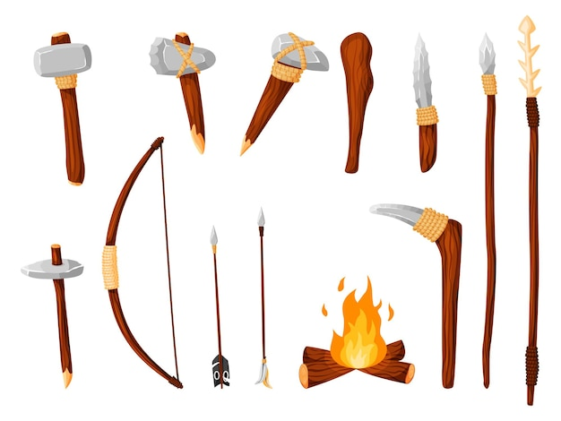Ancient age stone weapon for hunting, work tool and fire set. cartoon hammer, axe, arrow and spear with arrowhead prehistoric caveman instrument vector illustration isolated on white background