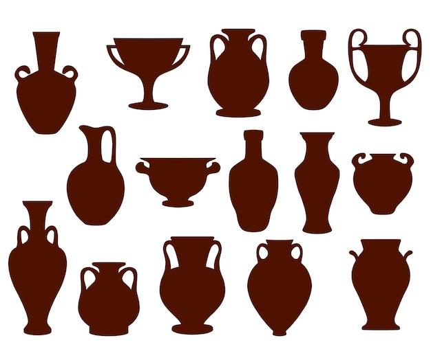 고대 양손 잡이가 달린 단지 실루엣, 그리스 주전자 및 amphorae.