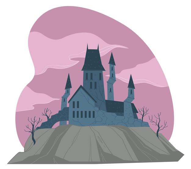 고대 건축물, 탑이 있는 우울한 중세 고딕 성, 자연을 환영하지 않습니다. 유령이 있는 유령의 집. 동화나 신비한 주거지, 악몽과 그림자. 평면 스타일의 벡터