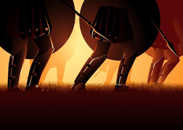 シールドと槍を保持している古代軍隊の行進