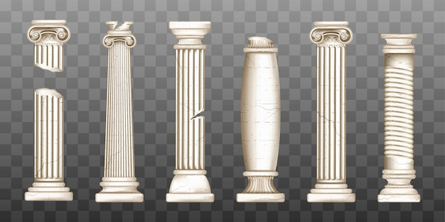 Ancient broken greek columns, baroque pillars