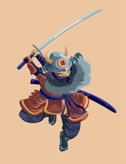 Ancient cartoon huge warrior fighter soldier and military man in samurai hard red armor
