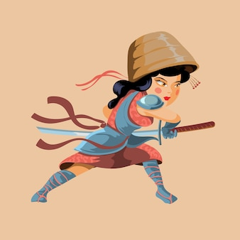 Ancient cartoon warrior fighter soldier and military girl in pink cloth and big braided hat