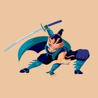 Ancient cartoon warrior fighter soldier and military man in dark blue cloth from various culture