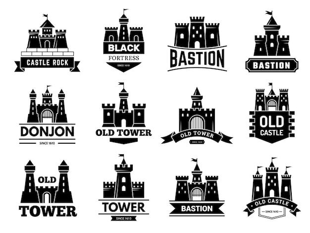 Логотип древних замков. средневековая крепость с набором значков вектора башни или логотипов. иллюстрация логотип замка, коллекция логотипов бастион