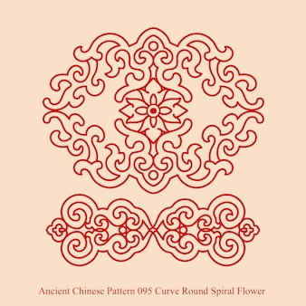 Ancient chinese pattern of curve round spiral flower
