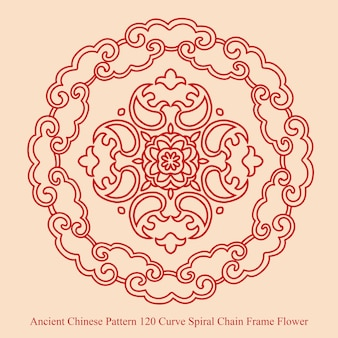 Ancient chinese pattern of curve spiral chain frame flower