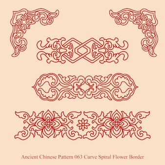Ancient chinese pattern of curve spiral flower border Premium Vector
