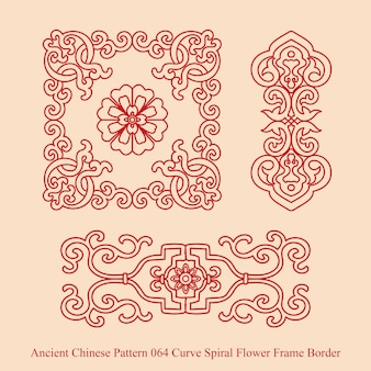Ancient chinese pattern of curve spiral flower frame border