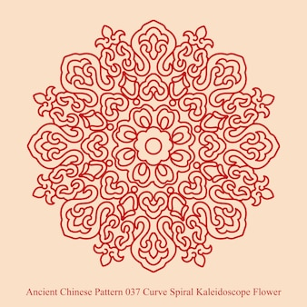 Ancient chinese pattern of curve spiral kaleidoscope flower