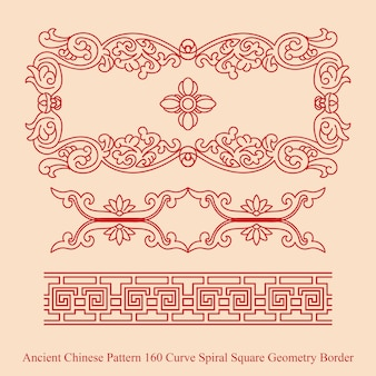 Ancient chinese pattern of curve spiral square geometry border