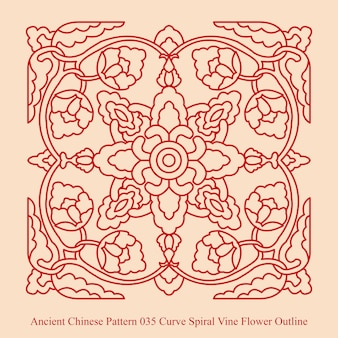 Ancient chinese pattern of curve spiral vine flower outline