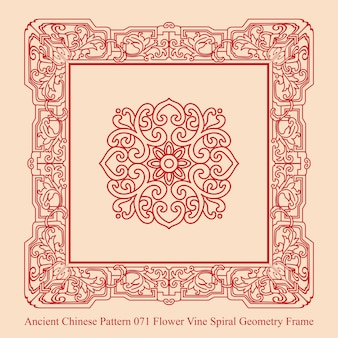 Ancient chinese pattern of flower vine spiral geometry frame
