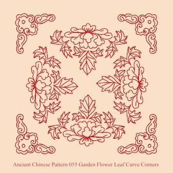 Ancient chinese pattern of garden flower leaf curve corners