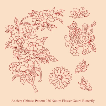 Ancient chinese pattern of nature flower gourd butterfly